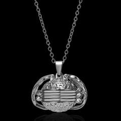 Expanding 4 Photo Locket Necklace Magic Ball Heart Angel Wing Pendant Jewellery Gun black