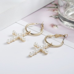 New Fashion Women's Cross Drop Earrings White Imitation Pearl Dangle Earrings Women's Brinco Elegant Gift Jewelry Cross