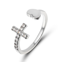 Wedding Ring Couple Concise Classical Silver Cubic Zirconia Fashion Jewelry Love Heart Cross Opening Adjustable CZ Finger Ring diamond