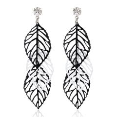 Multilayer Black White Leaf Drop Earrings Fashion Vintage Hollow Out Punk Triangle Waterdrop Butterfly Wing Cute Flower Earrings Leaf1