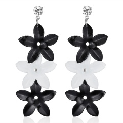 Multilayer Black White Leaf Drop Earrings Fashion Vintage Hollow Out Punk Triangle Waterdrop Butterfly Wing Cute Flower Earrings Flower