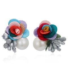 Female Ear Jewelry Big Cloth Flower Pearl Earrings For Women Romantic Wedding Dress Earring Simple Floral Stud Earrings Colorful