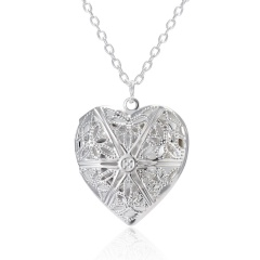Silver Plated Carved Love Heart Shape Valentine Lover Gift Animal Photo Can Open Album Frame Box Pendant Necklace Jewelry Hollow out