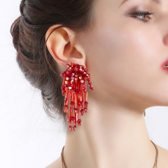 Rice bead tassel earrings 1