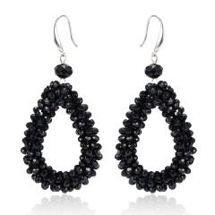 Fashion Crystal Water Drop Dangle Earrings For Women Geometric Statement Earrings Trendy Jewelry Black Color