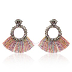 Fashion Bohemia Tassel Crystal Big Earrings Handmade Pink Green Silk Fabric Drop Dangle Earrings Women Ethnic Wedding Jewelry Colorful