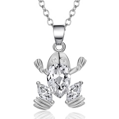 New Zircon Pendants Frog Necklace For Women Crystal Heart Crown Sliver Clavicle Chain Necklaces Fashion Jewelry Frog