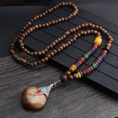 Ethnic style retro long handmade beaded wooden bead necklace for men and women long sweater chain necklace necklace 2