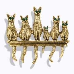 Fashion Animals Cat Dog Ancient Gold/Silver Brooch Pins Women Men Jewelry Gifts Six cats