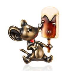 Fashion Cute Women Crystal Animal Mouse Enamel Brooch Pin Jewelry New Year Gift 1