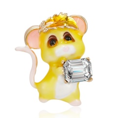 Fashion Cute Women Crystal Animal Mouse Enamel Brooch Pin Jewelry New Year Gift 2
