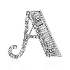 Letter Crystal Rhinestone Brooch Pin Badge Corsage Fashion Jewelry Wedding Gift A