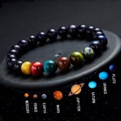 8mm Tiger Eye Stone Eight Planets Elastic Rope Bracelet Elegant Women Jewellry 8mm
