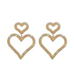 Fashion Two Love Heart Rhinestone Dangle Drop Earrings Elegant Women Jewelry New Two Love Heart