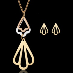 Women's triangle hollow stainless steel necklace pendant earrings jewelry set Shell