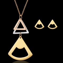 Women's triangle hollow stainless steel necklace pendant earrings jewelry set Triangle