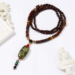 Women Retro Handmade Bohemia Tibetan Beads Pendant Necklace Long Sweater Chain Agate beads