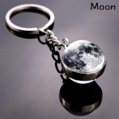 Galaxy Solar System Glow in the Dark Double Side Glass Ball Planet Keychain Ring Moon