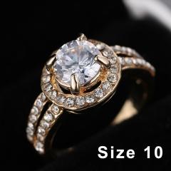 Elegant Gold Filled Crystal Two Row Women Wedding Ring Zirconia Ring Size 10/8 Hot SIZE 10