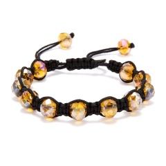 Fashion Crystal Beaded Bracelet Adjustable Braided Rope Lucky Bangle Women Gift yellow