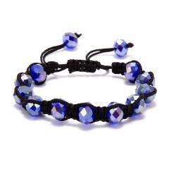 Fashion Crystal Beaded Bracelet Adjustable Braided Rope Lucky Bangle Women Gift royal blue