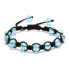 Fashion Crystal Beaded Bracelet Adjustable Braided Rope Lucky Bangle Women Gift sky blue