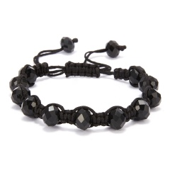 Fashion Crystal Beaded Bracelet Adjustable Braided Rope Lucky Bangle Women Gift black