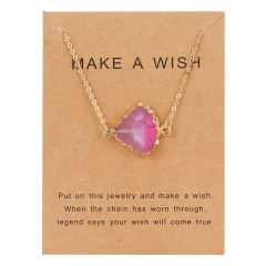 Geometric Natural Stone Resin Card Charm Pendant Necelace Chain Women Party Gift Pink