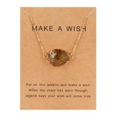 Fashion Geometric Natural Stone Resin Pendant Necelace Choker Chain Jewelry Gift Amber
