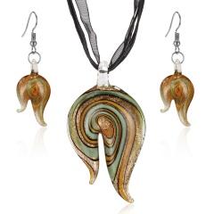 coloured glaze Necklace Earring Set B01