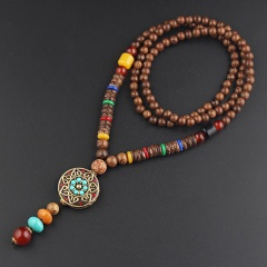 Retro ethnic style sweater chain wooden beads long necklace Nepal blue