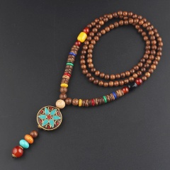 Retro ethnic style sweater chain wooden beads long necklace Nepalese sunflower