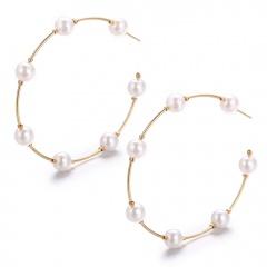 Geometric C-shaped Pearl Big Hoop Earrings Wholesale Pearl