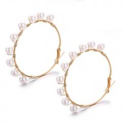 Gold Pearl Circle Large Hoop Earring pearl