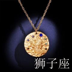 Zodiac matte diamond pendant necklace (random diamond color) Leo