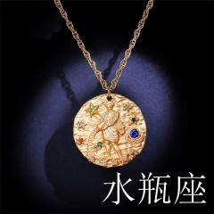 Zodiac matte diamond pendant necklace (random diamond color) Aquarius