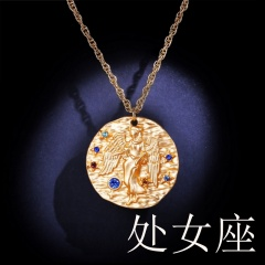 Zodiac matte diamond pendant necklace (random diamond color) virgo