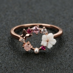 Fashion Design Butterfly Flowers Crystal Wedding Ring for Women Girls Rose Gold Color Zircon Finger Ring Jewelry 2020 Bijoux A