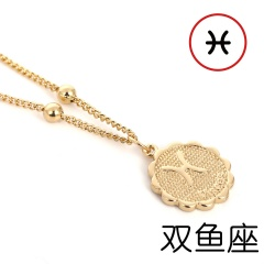 12 Zodiac Horoscope Crystal Constellation Gold Necklace Pendant Womens Jeweller Pisces