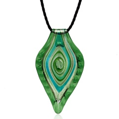 Fashion Lampwork Glass Leaf Pendant For Necklace Jewelry Family Summer Gift Hot Green