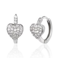 Fashion Heart Diamon Earring Gemstone Hook Silver Earring for Women's Jewelry Heart