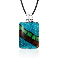 Fashion Summer Black Rope Short Necklace Square Glass Pendant Necklace Colorful Murano Glass Necklace Jewelry Blue