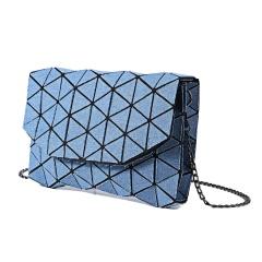 Geometry Denim Shoulder Bag Ladies Satchel Zipper Bag Messenger Crossbody Bag Women Fashion Coin Purse Sling Shopping Bag Wathet Blue