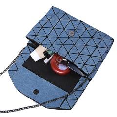 Geometric Ringer Hand Folding One-shoulder Cross-body Envelope Bag Denim26*18cm Cambridge blue