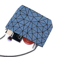 Women's Flat Bag With Geometric Ringer Bucket With One Shoulder Cross-body28*15cm Cambridge blue