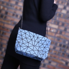 Geometry Denim Shoulder Bag Ladies Satchel Zipper Bag Crossbody Bag Women Fashion Coin Purse Sling Shopping Bag Wathet Blue