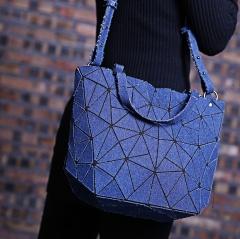 Fashion Geometry Denim School Shoulder Bag Ladies Satchel Zipper Bag Bag Women Shopping Bag Dark Blue