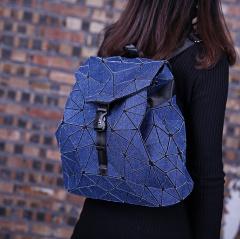 Wholesale MUSSA Women Girl Students Geometry Folding Bag Travel School Bags Backpack Denim Travel Bagpack Dark Blue