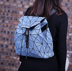 Wholesale MUSSA Women Girl Students Geometry Folding Bag Travel School Bags Backpack Denim Travel Bagpack Wathet Blue