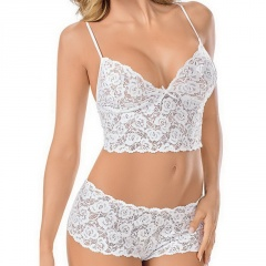 Ladies Lace See-through Flowers Sexy Lingerie  Bra Briefs Set White 3XL